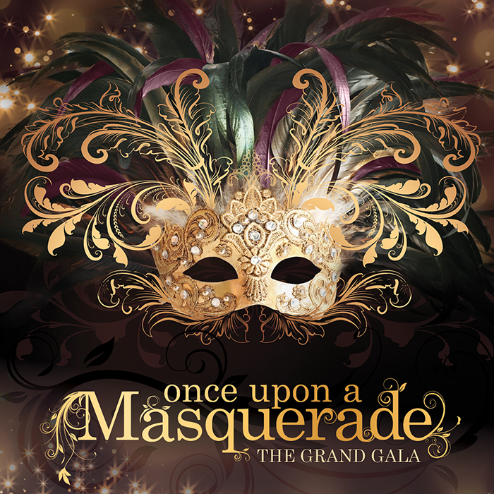 Once Upon a Masquerade Logo with elegant gold mask