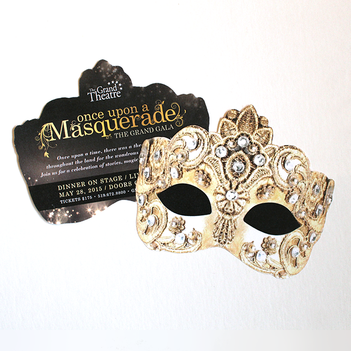 Once Upon a Masquerade mask-shaped invitation