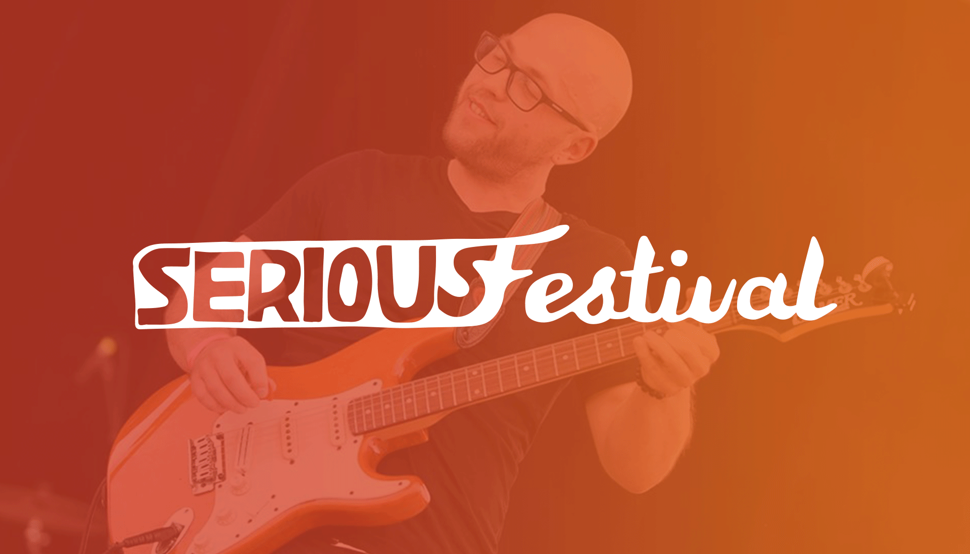 Serious Festival logo overlaying man playing an electric guitar