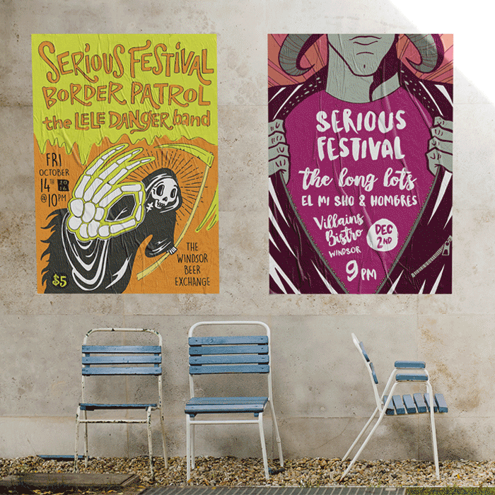 Serious Festival Posters on a concrete wall