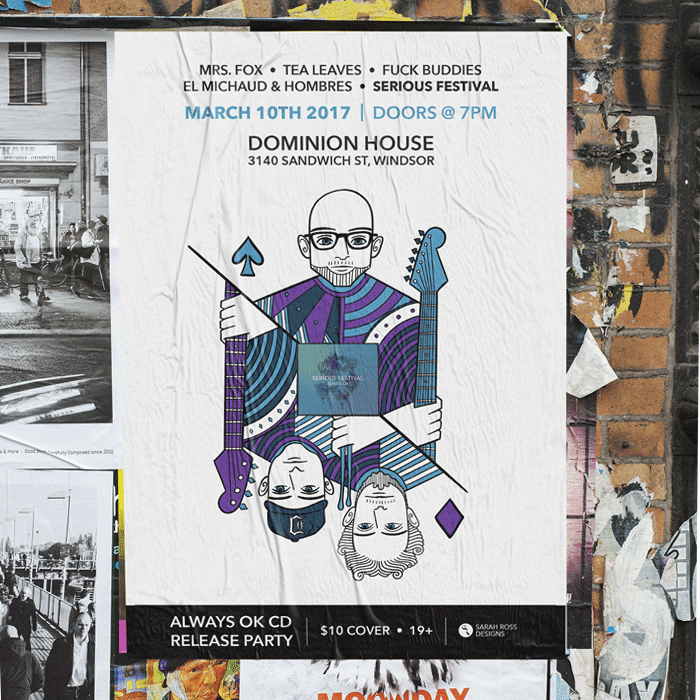 Serious Festival Poster on a wall with an illustration of 3 band members